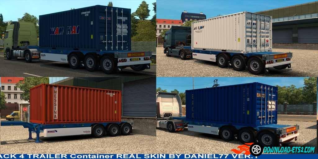 4 Trailer Container 20 Ft Skins real V1