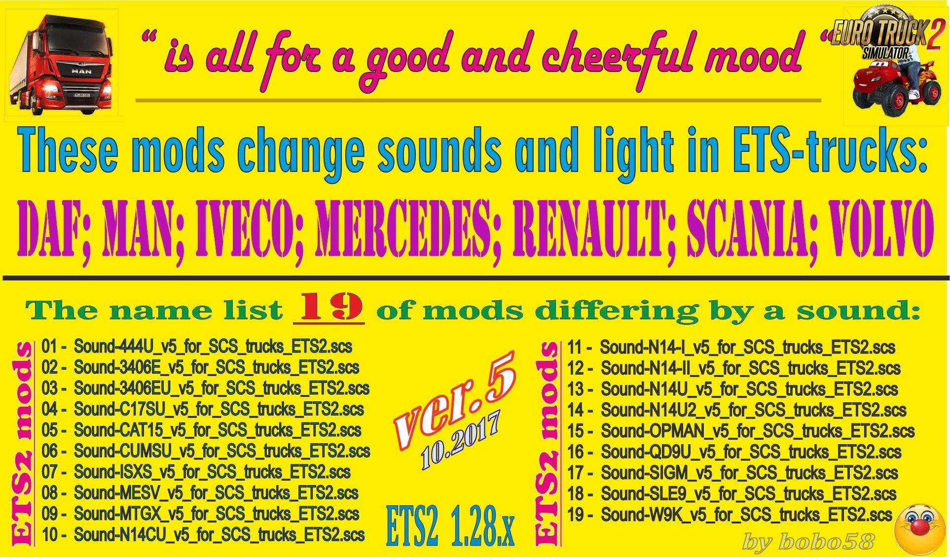 Sound mod for trucks ets2 v5.0 by bobo58