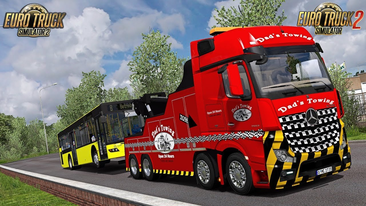 Mercedes Actros MP IV Crane Truck + Trailers (1.34.x) - Euro Truck Simulator 2